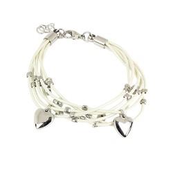 Bracelet acier cordons blancs et pampilles