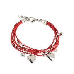 Bracelet acier cordons rouges et pampilles