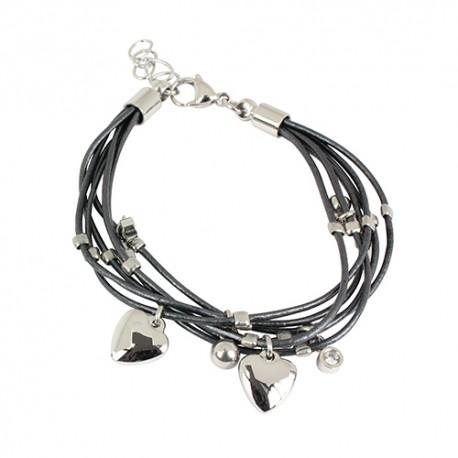 Bracelet acier cordons noirs et pampilles