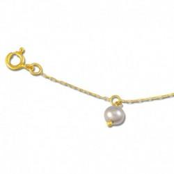 Chaine cheville or 375/1000 perle de culture