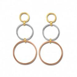 Boucles d'oreilles or 375/1000 tricolore