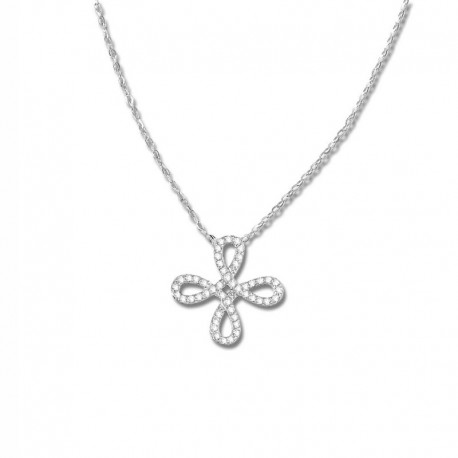 Collier or 375/1000 croix oxydes