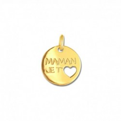 "Pendentif or 375/1000 ""maman je t'aime"""