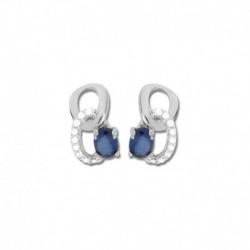 Boucles d'oreilles or 375/1000 saphirs fins et oxydes
