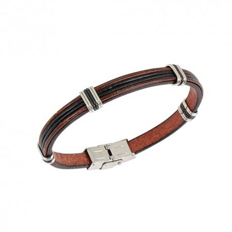 Bracelet acier et cuir noir et marron