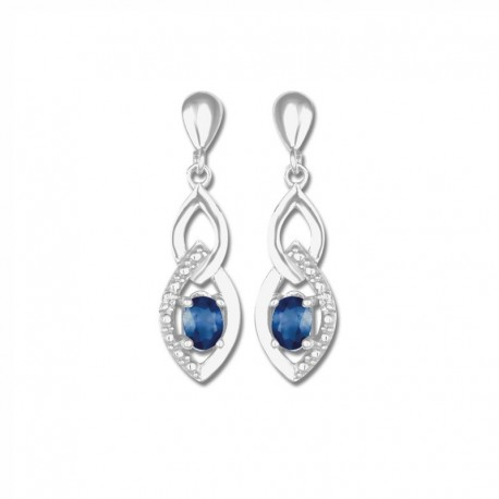 Boucles d'oreilles or 375/1000 saphirs fins et diamants
