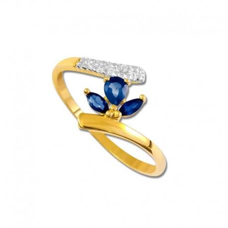 Bague or 375/1000 saphirs fins et diamant