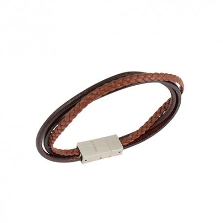 Bracelet acier 3 cordons cuir marron