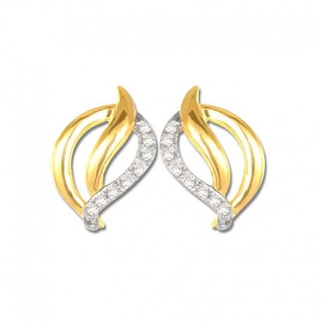 Boucles d'oreilles or 750/1000 oxydes bicolore