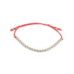 Bracelet acier cordon rouge et boules acier