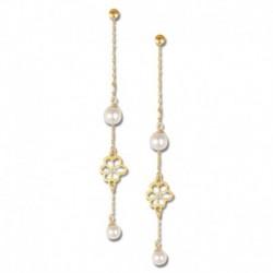 Boucles d'oreilles or 750/1000 fleurs et perles de culture