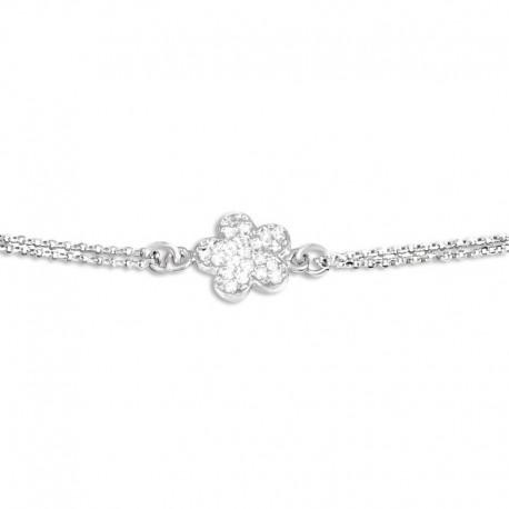 Bracelet argent 1 motif fleur oxydes