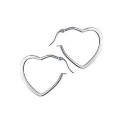 Créoles acier forme coeur