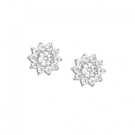 Boucles d'oreilles argent fleurs oxydes