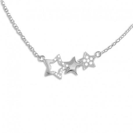 Collier argent étoiles oxydes