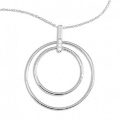 Collier argent 2 cercles oxydes