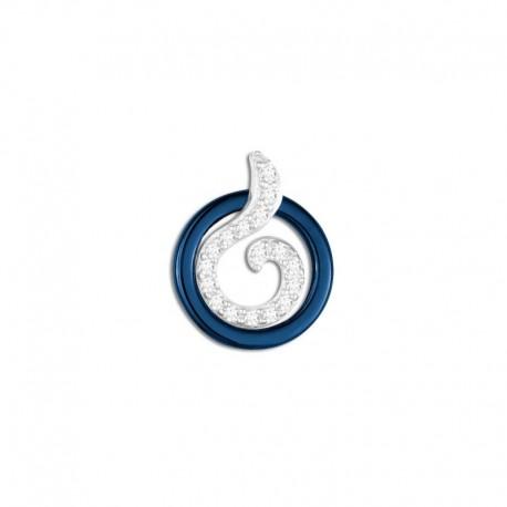 Pendentif argent céramique bleue et oxydes