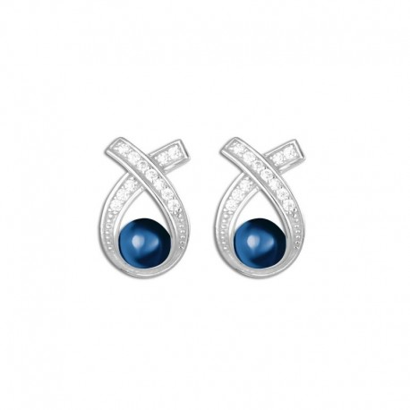Boucles d'oreilles argent céramique bleue et oxydes