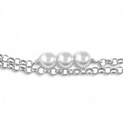 Bracelet argent perles synthétiques