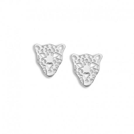 Boucles d'oreilles argent tigre