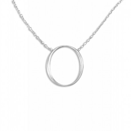Collier argent ovale