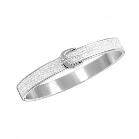 Bracelet acier jonc cristal