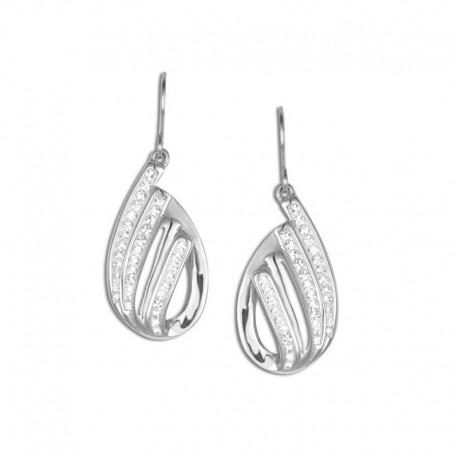 Boucles d'oreilles acier cristal