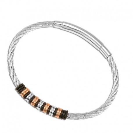Bracelet acier câble tricolore