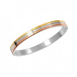 Bracelet acier jonc tricolore