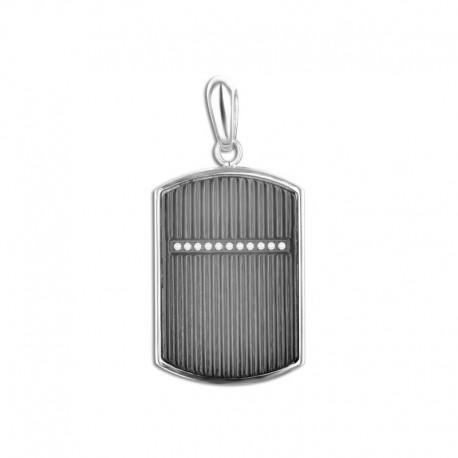 Pendentif acier plaque cristal avec chaîne