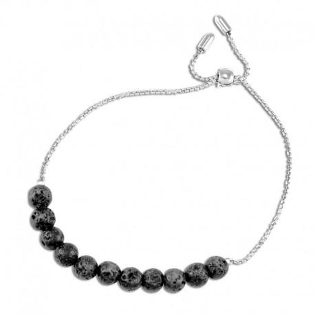 Bracelet acier pierres de lave