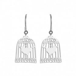 Boucles d'oreilles acier cage avec oiseaux