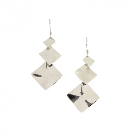 Boucles d'oreilles argent trois carrés pendants
