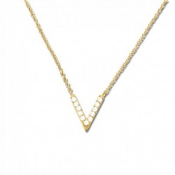 Collier plaqué or v oxydes