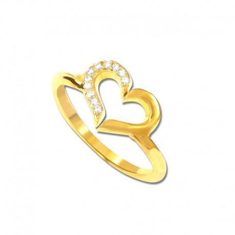 Bague plaqué or cœur moitié oxydes