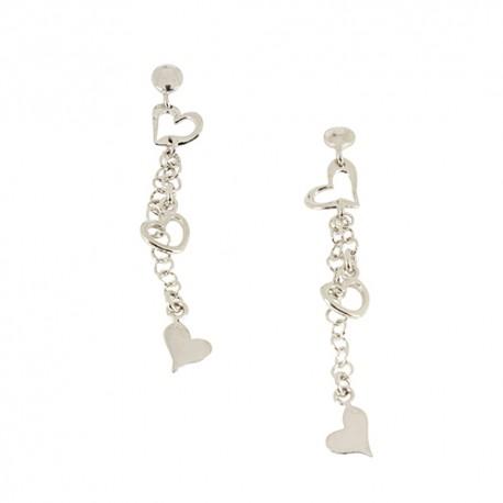 Boucles d'oreilles argent pendante coeur
