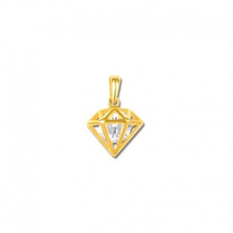 Pendentif plaqué or cage forme diamant oxyde