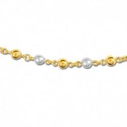 Bracelet plaqué or perles synthétiques