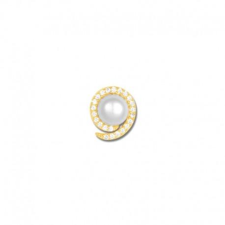 Pendentif plaqué or perle de culture et oxydes