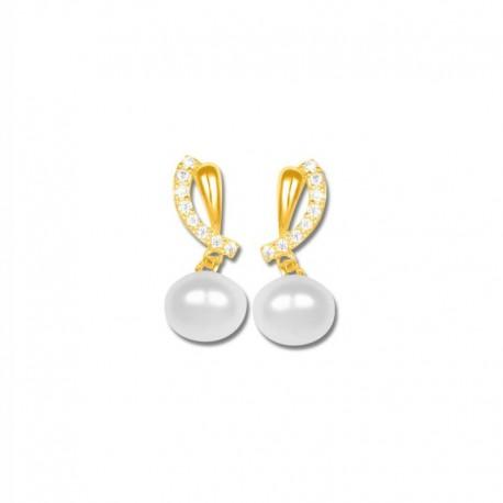 Boucles d'oreilles plaqué or perles de culture et oxydes