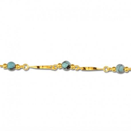Bracelet plaqué or turquoises