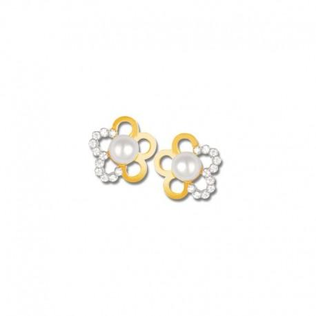 Boucles d'oreilles or 750/1000 oxydes et perles de culture