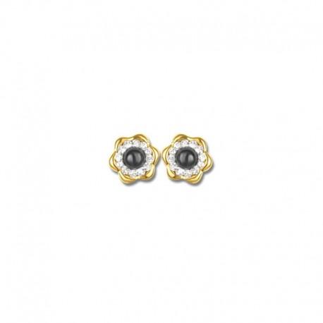 Boucles d'oreilles or 750/1000 saphirs fins et cristal