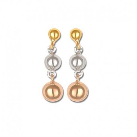 Boucles d'oreilles or 750/1000 tricolore