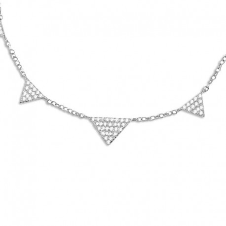 Collier argent 5 triangles oxydes