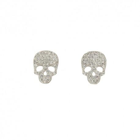 Boucles d'oreilles argent tête de mort oxydes
