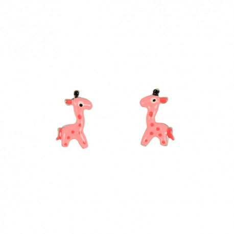 Boucles d'oreilles argent enfant girafe rose
