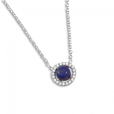 Collier argent lapis-lazuli et oxydes