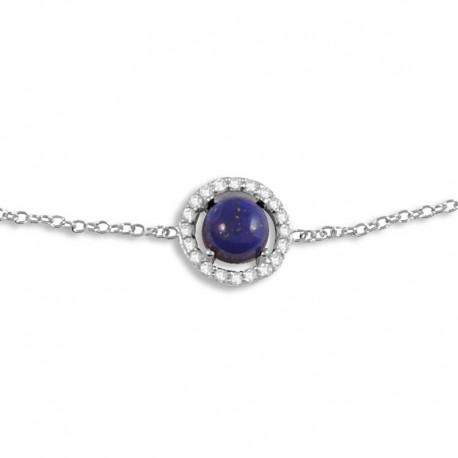 Bracelet argent lapis-lazuli et oxydes