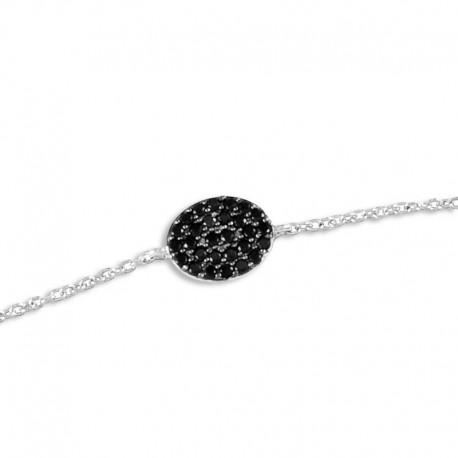 Bracelet argent oxydes noirs
